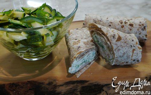 Рецепт Тортильи с креветками и зеленым салатом