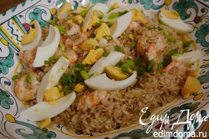 Плов из бурого риса с креветками