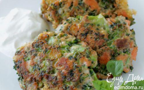 Рецепт Оладьи из брокколи и лосося