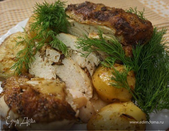 Куриная грудка с лимоном и картофелем