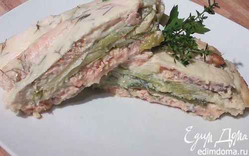 Рецепт Запеканка из лосося с кабачком и пореем