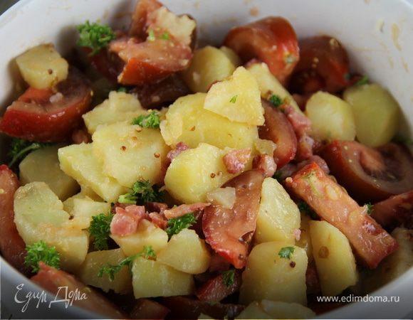 Салат с картофелем и помидорами по-деревенски