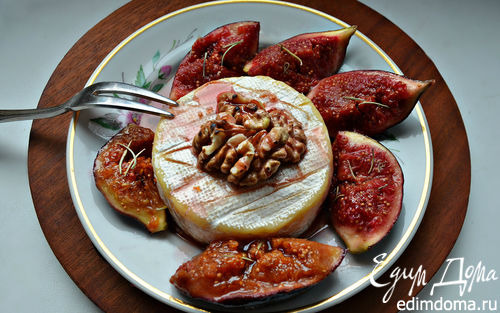Рецепт Запеченный сыр Бри с глазированным инжиром