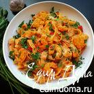 Паста фетучини с креветками и томатами