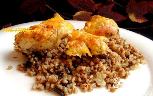 Рецепт Запеканка из гречки с грибами и курицей под сыром