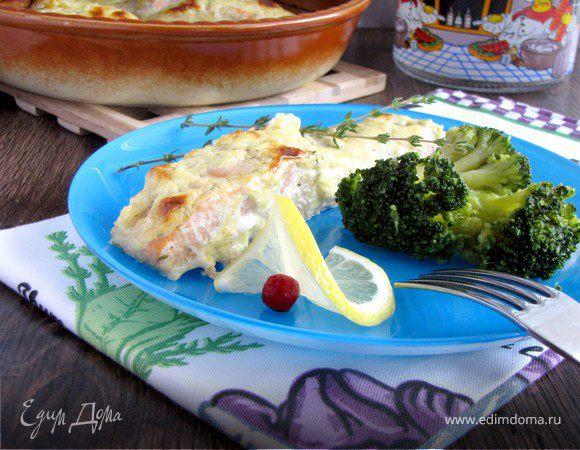 Филе лосося под сырно-горчичным соусом