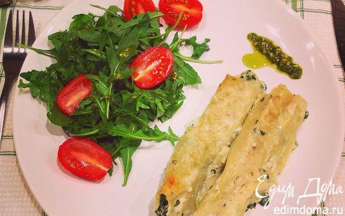 Рецепт Каннеллони со шпинатом и рикоттой в сливочном соусе