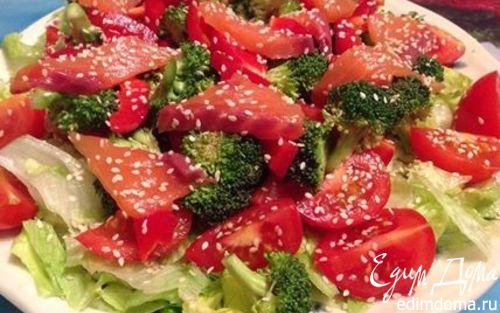 Рецепт Салат с семгой и брокколи