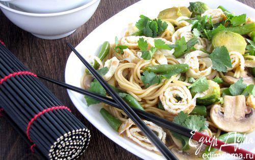 Рецепт Японская лапша с овощами и омлетом