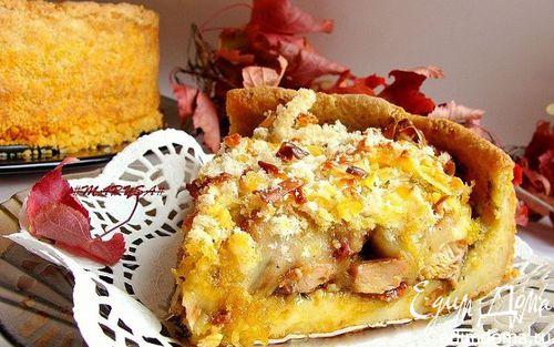 Рецепт Пирог с курицей, песто, вялеными помидорами и моцареллой