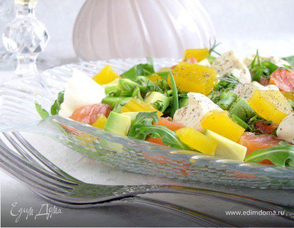 Салат с форелью и апельсиновым желе