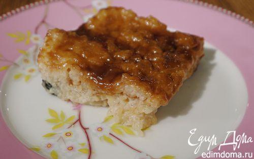 Рецепт Ванильный рисовый пудинг с изюмом и карамелью