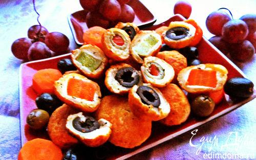 Рецепт Сырные мини-пирожки с овощами и маслинами
