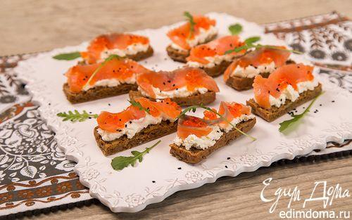 Рецепт Канапе с копчёной форелью и творожным сыром
