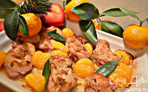 Рецепт Курица, запеченная с мандаринами