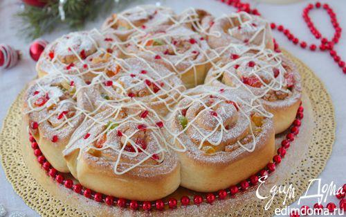 Рецепт Праздничные булочки с марципаном и цукатами