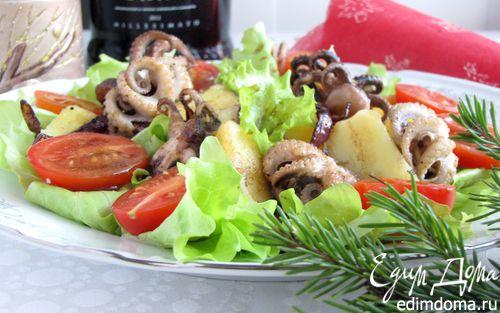 Рецепт Теплый салат из осьминога с картофелем