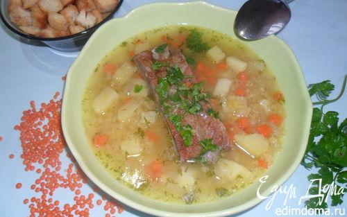 Рецепт Чечевичный суп с копченостями