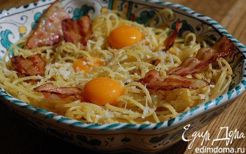 Рецепт Спагетти карбонара с желтками пашот