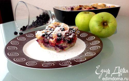 Рецепт Хлебный пудинг с яблоками и черникой