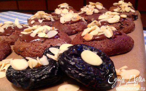 Рецепт Шоколадное печенье с черносливом и миндалем
