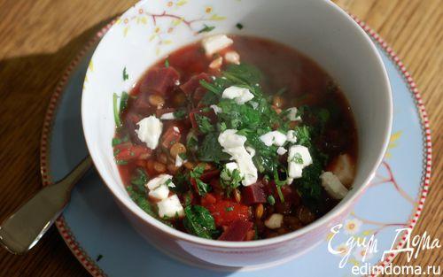 Рецепт Томатный суп с чечевицей, свеклой и шпинатом