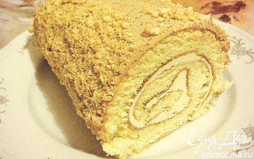 Рецепт Бисквитный торт-рулет
