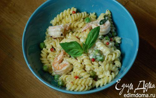 Рецепт Паста с креветками, зеленым горошком и базиликом
