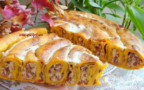 Рецепт Пирог-улитка из тыквенных блинчиков