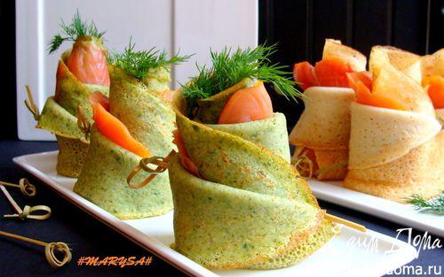Рецепт Блины на плавленом сыре со шпинатом и лососем