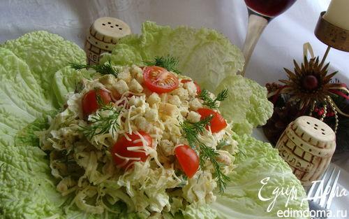 Рецепт Цезарь по-домашнему с пекинской капустой и куриной грудкой