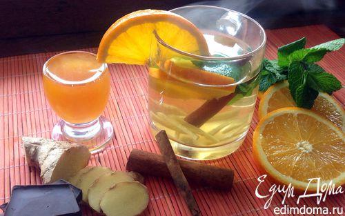 Рецепт Чай с имбирем, апельсином, мятой, медом и корицей