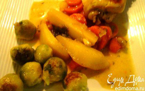 Рецепт Куриные голени с овощами и брюссельской капустой