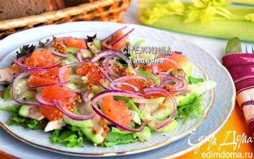 Рецепт Салат с авокадо, курицей, сельдереем и грейпфрутом