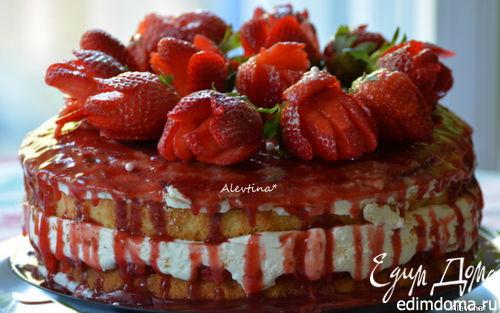 Рецепт Клубничный торт-Шарлотт