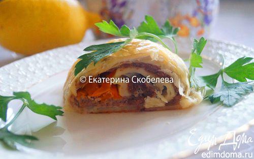 Рецепт Рулет из слоеного теста с фаршем и болгарским перцем
