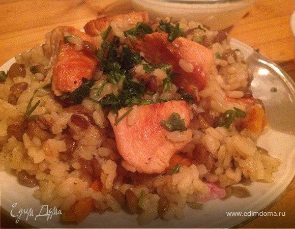 Рис с курицей и чечевицей