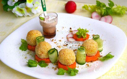 Рецепт «Весенний букет» из картофельных крокетов на сливочно-морковной «подушке»