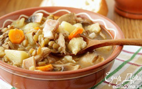 Рецепт Густой суп с чечевицей, грибами и клецками