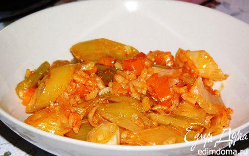 Рецепт Лук-порей, тушеный с рисом (Zeytinyaglı pırasa)
