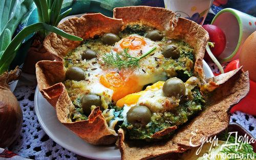 Рецепт Глазунья, запечённая в шпинате