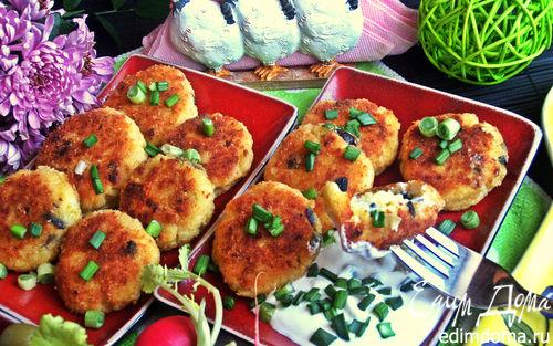 Рецепт Биточки из картофеля и творога с маслинами