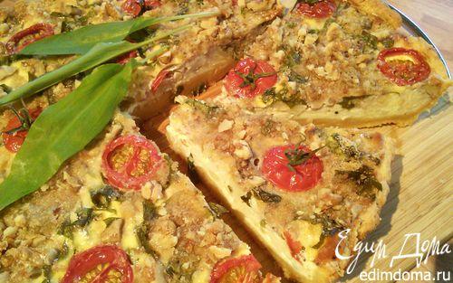 Рецепт Киш на творожном тесте с цветной капустой и черемшой