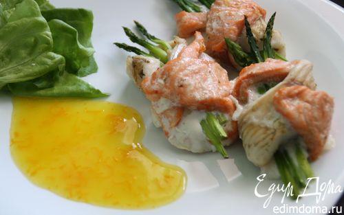 Рецепт Дуэт из двух видов рыб со спаржей