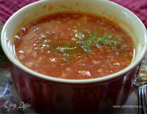 Томатный суп с укропом