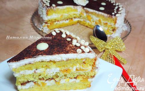 """Рецепт Бисквитный торт с персиками """"Счастье в простых вещах"""""""