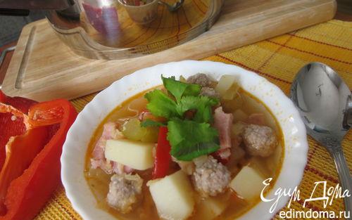 Рецепт Густой чечевичный суп с фрикадельками и беконом