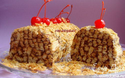 Рецепт Торт-полено из слоеного теста с шоколадным кремом