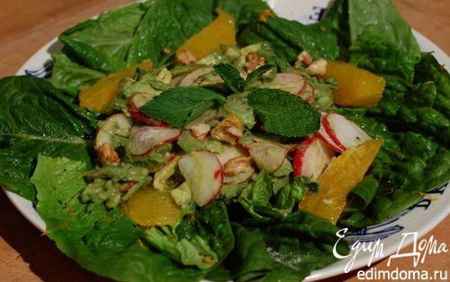 Рецепт Салат с авокадо, орехами и редисом