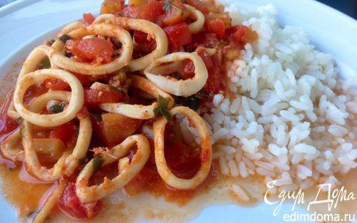 Рецепт Кальмары со свежим имбирем в томатах